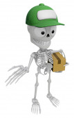 3D Skeleton Mascot is Kindly courier holding the box. 3D Skull C — Stock Photo
