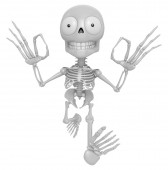 3D Skeleton Mascot It is OK gesture of both hands. 3D Skull Char — Stock Photo