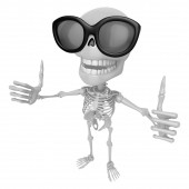 3D Skeleton Mascot the best hand gesture. 3D Skull Character Des — Stock Photo