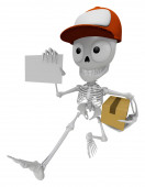 3D Skeleton Mascot is holding a courier box and business card. 3 — Stock Photo