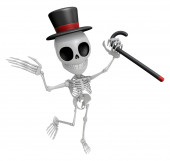 3D Gentleman Skeleton Mascot is a stick dance Brandishing. 3D Sk — Stock Photo