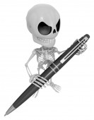 3D Skeleton Mascot is holding a big ballpoint pen with both hand — Stock Photo