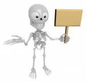 3D Skeleton Mascot the right hand guides and the left hands are  — Stock Photo