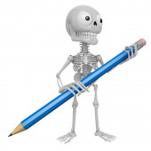 3D Skeleton Mascot is holding a big pencil with both hands. 3D S — Stock Photo