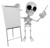 3D Skeleton Mascot is presentation in front of the a briefing ch — Stock Photo