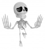 3D Skeleton Mascot is No gestures of both hands. 3D Skull Charac — Stock Photo