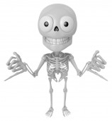 3D Skeleton Mascot is Taking a gesture that promises. 3D Skull C — Stock Photo