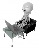 3D Skeleton Mascot Sitting on the couch working on a laptop. 3D — Stock Photo