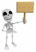 3D Skeleton Mascot the right hand guides and the left hands are  — Foto de Stock