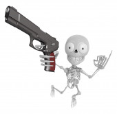 3D Skeleton Mascot is cowboys taking to pose a gunfight. 3D Skul — Stock Photo