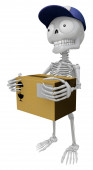 3D Skeleton Mascot is holding a courier box. 3D Skull Character — Stock Photo