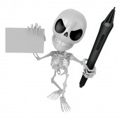 3D Skeleton Mascot is Holding a tablet pen and business card in — Stock Photo