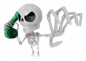 3D Skeleton Mascot is Calling a fit of anger. 3D Skull Character — Stock Photo