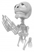 3D Skeleton Mascot offered up prayers to God the Father. 3D Skul — Stock Photo