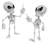 3D Skeleton Mascot contended with for opponents of something. 3D — Stock Photo
