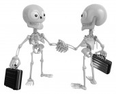 3D Skeleton Mascot shake hands with each other. 3D Skull Charact — Stock Photo