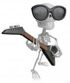 3D Skeleton Mascot is played the guitar with nimble fingers. 3D  — Stock Photo