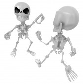 3D Two Skeleton Mascot is a fist fighting. 3D Skull Character De — Stock Photo