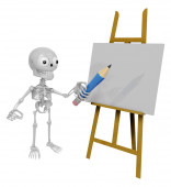 3D Skeleton Mascot is There in front of the easel holding a penc — Stockfoto