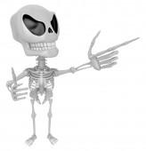 3D Skeleton Mascot is taking gestures of Double pistols. 3D Skul — Stock Photo