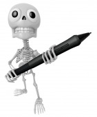 3D Skeleton Mascot is holding a big tablet pen with both hands.  — Stock Photo