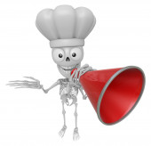 3D Skeleton Mascot is speakn through a megaphone. 3D Skull Chara — Stock Photo
