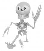 3D Skeleton Mascot on Running. 3D Skull Character Design Series. — Stock Photo