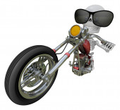 3D Skeleton Mascot is motorbikes driving. 3D Skull Character Des — Stock Photo