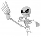 3D Skeleton Mascot to be powerful Fly kick. 3D Skull Character D — Foto Stock