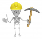 3D Skeleton Mascot is holding electric pickax. 3D Skull Characte — Stock Photo