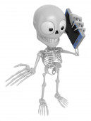 3D Skeleton Mascot the right hand guides and the left hand is ho — Stock Photo