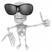 3D Skeleton Mascot the left hand best gesture and the right hand — Stock Photo