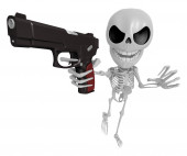 3D Skeleton Mascot is the strike with one's fist. 3D Skull Chara — Stock Photo