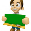 3D Man Mascot holding a big board with both Green chalkboard. Wo — Stock Photo #73206177