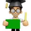 3D Scholar Man Mascot hand is holding a Chalk and Chalkboard. Wo — Stock Photo #73206907
