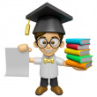 3D Scholar Man Mascot is holding a pile of books. Work and Job C — Stock Photo #73205713