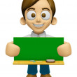3D Man Mascot holding a big board with both Green chalkboard. Wo — Stock Photo #73206345