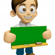3D Man Mascot holding a big board with both Green chalkboard. Wo — Stock Photo #73207341