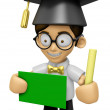 3D Scholar Man Mascot hand is holding a Chalk and Chalkboard. Wo — Stock Photo #73207881