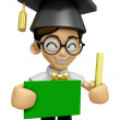 3D Scholar Man Mascot hand is holding a Chalk and Chalkboard. Wo — Stock Photo #73209359