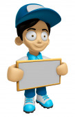 3D Delivery Service Man Mascot holding a big board with both han — Stock Photo