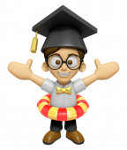 3D Scholar Man Mascot is played in the pool on a tube. Work and  — Stock Photo