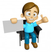 3D Man Mascot is sitting on a chair assume the gesture of the be — Stock Photo