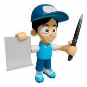 3D Delivery Service Man Mascot hand is holding a Document and ba — Stock Photo