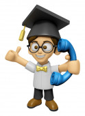 3D Scholar Man Mascot Please call me today. Work and Job Charact — Stock Photo
