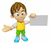 3D Child Mascot is holding a business card. Work and Job Charact — Stock Photo