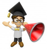 3D Scholar Man Mascot the left hand guides and right hand is hol — Stock Photo