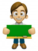 3D Man Mascot holding a big board with both Green chalkboard. Wo — Stock Photo