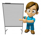 3D Man Mascot is concise explanation of a whiteboard. Work and J — Stock Photo