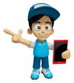 3D Delivery Service Man Mascot the right hand guides and the lef — Stock Photo